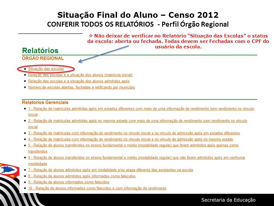 Situação Final do Aluno – Censo 2012 CONFERIR TODOS OS RELATÓRIOS - Perfil Órgão Regional Não deixar de verificar no Relatório Situação das Escolas o