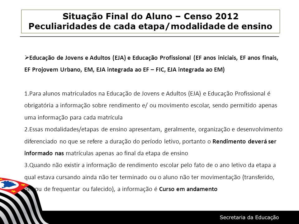 Situação Final do Aluno – Censo 2012 Peculiaridades de cada etapa/modalidade de ensino Educação de Jovens e Adultos (EJA) e Educação Profissional (EF