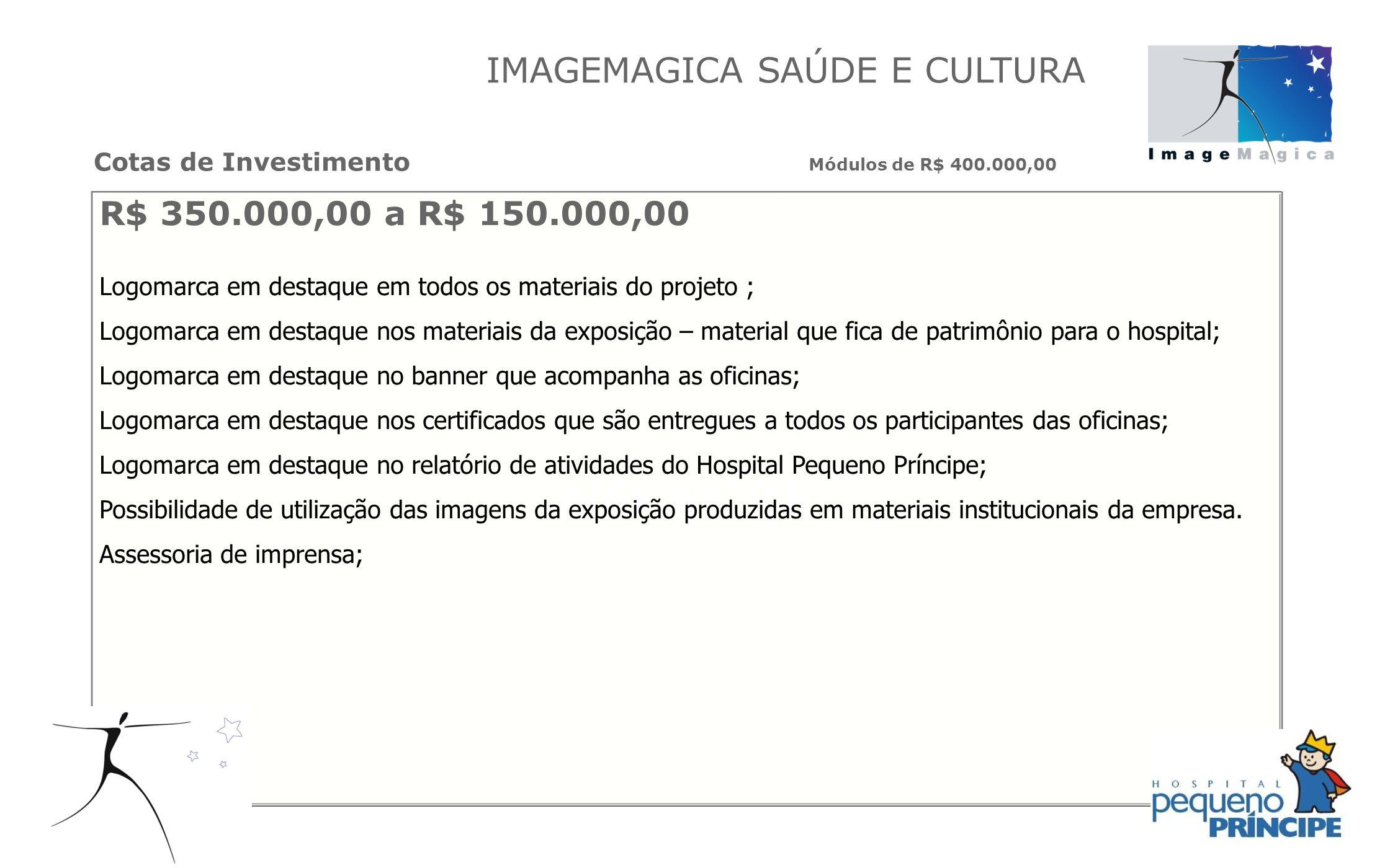R$ 350.000,00 a R$ 150.000,00 Logomarca em destaque em todos os materiais do projeto ; Logomarca em destaque nos materiais da exposição – material que