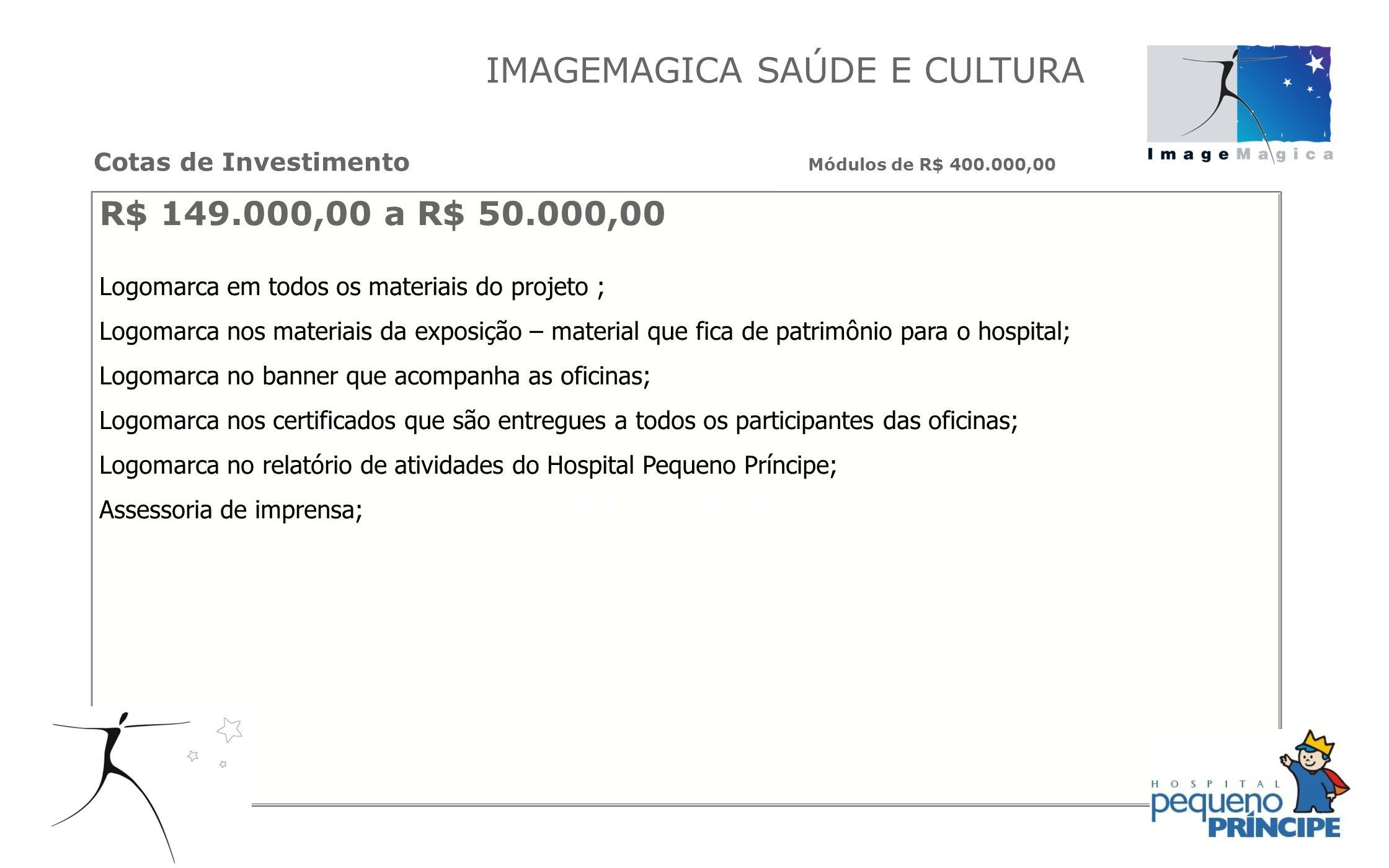 R$ 149.000,00 a R$ 50.000,00 Logomarca em todos os materiais do projeto ; Logomarca nos materiais da exposição – material que fica de patrimônio para
