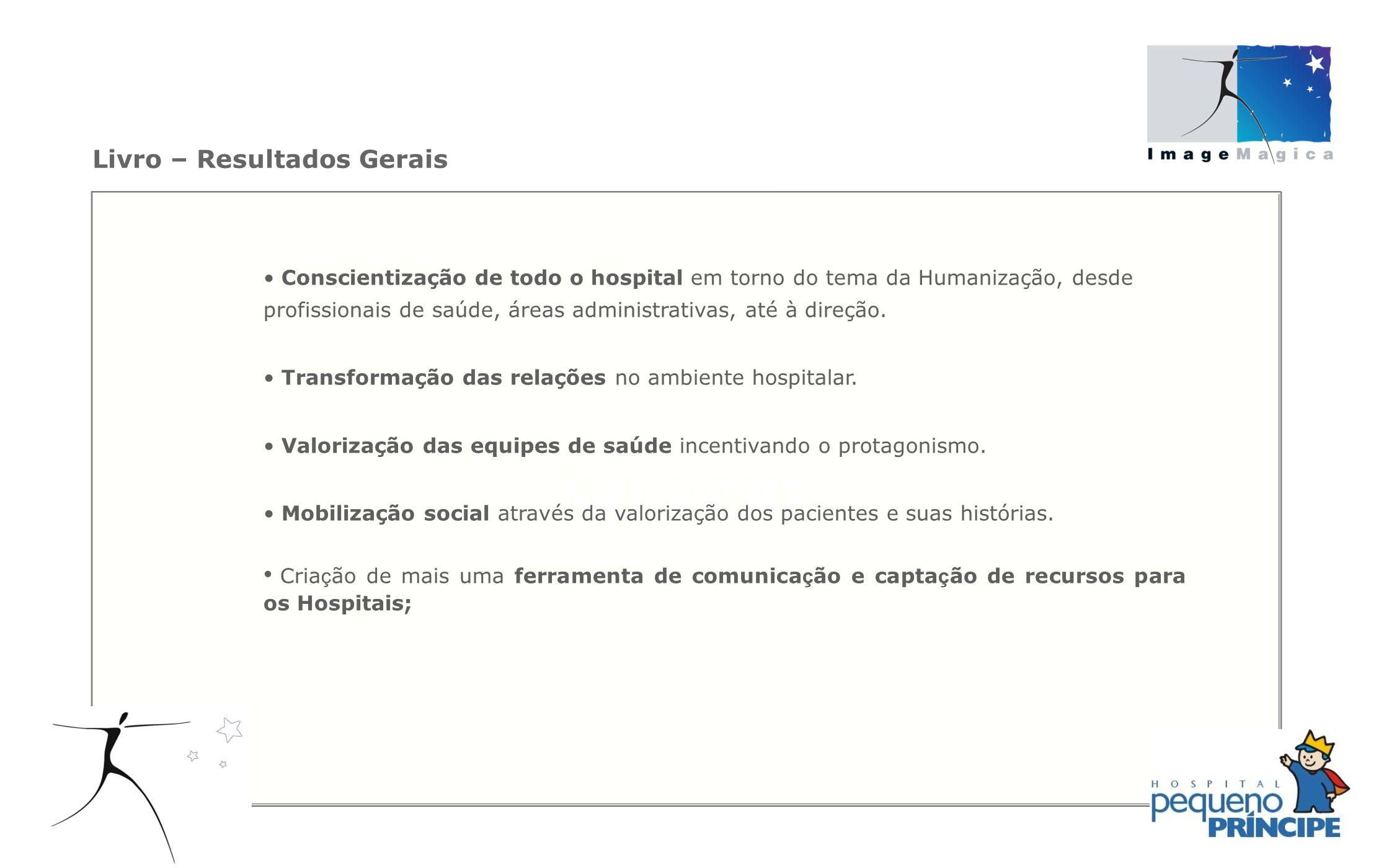 Livro – Resultados Gerais Conscientização de todo o hospital em torno do tema da Humanização, desde profissionais de saúde, áreas administrativas, até
