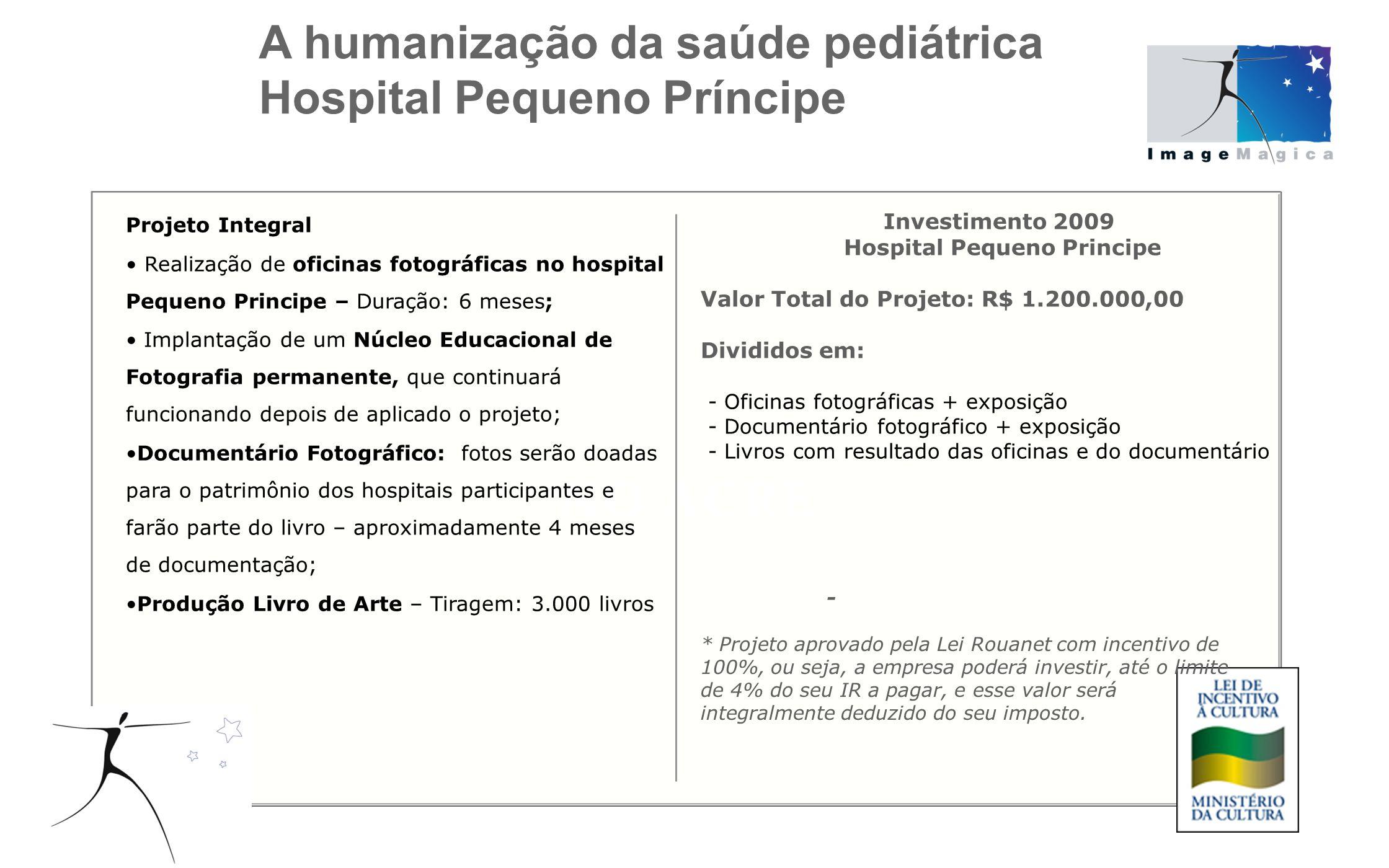 Projeto Integral Realização de oficinas fotográficas no hospital Pequeno Principe – Duração: 6 meses; Implantação de um Núcleo Educacional de Fotograf