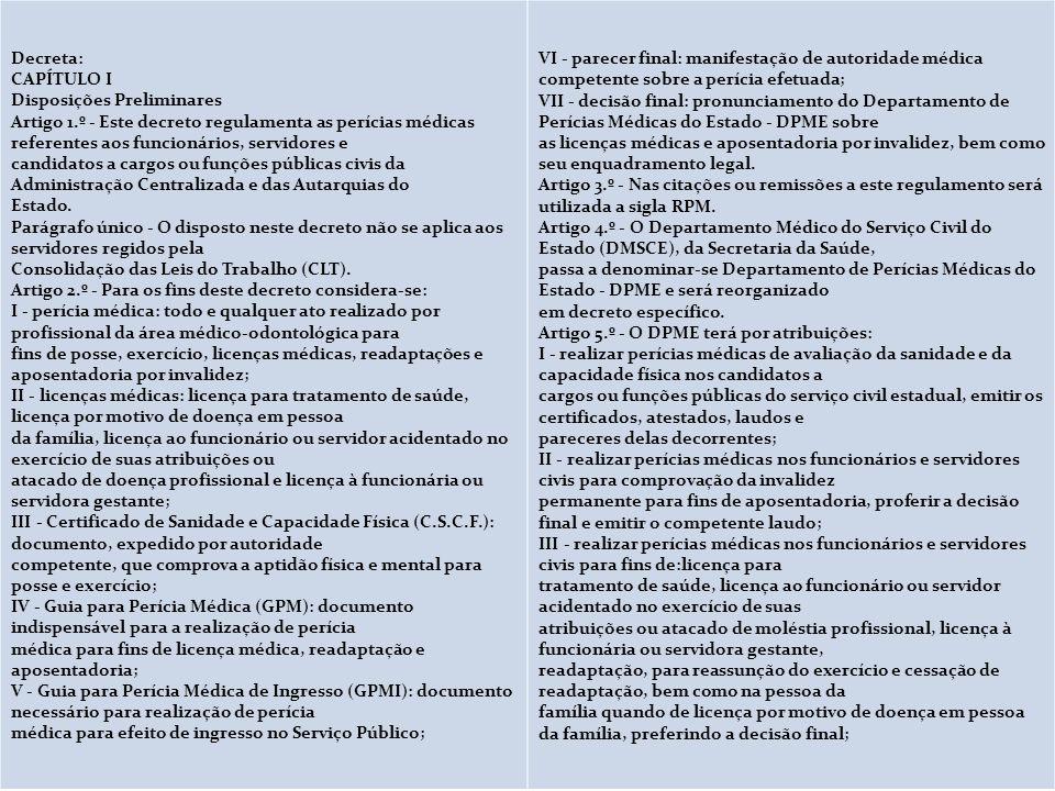 Decreto Nº 29.180, de 11 de novembro de 1988 Decreta: CAPÍTULO I Disposições Preliminares Artigo 1.º - Este decreto regulamenta as perícias médicas re