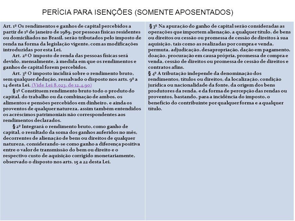 Art. 1º Os rendimentos e ganhos de capital percebidos a partir de 1º de janeiro de 1989, por pessoas físicas residentes ou domiciliados no Brasil, ser