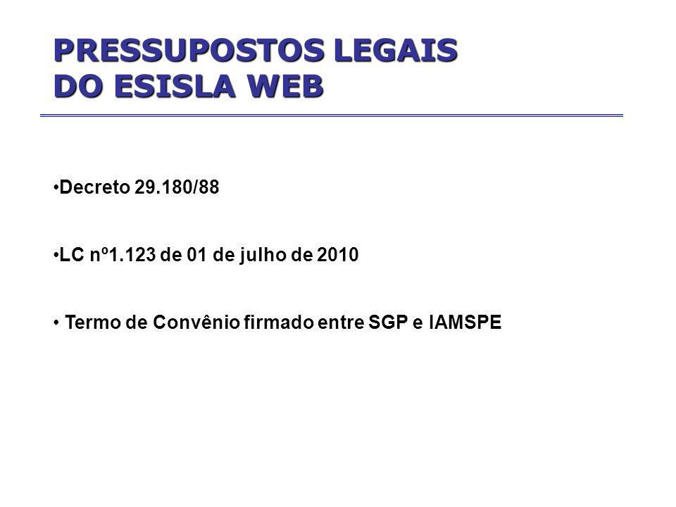 Decreto 29.180/88 LC nº1.123 de 01 de julho de 2010 Termo de Convênio firmado entre SGP e IAMSPE PRESSUPOSTOS LEGAIS DO ESISLA WEB