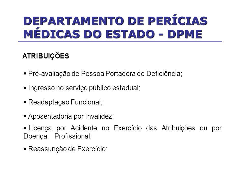 ATRIBUIÇÕES Pré-avaliação de Pessoa Portadora de Deficiência; Ingresso no serviço público estadual; Readaptação Funcional; Aposentadoria por Invalidez