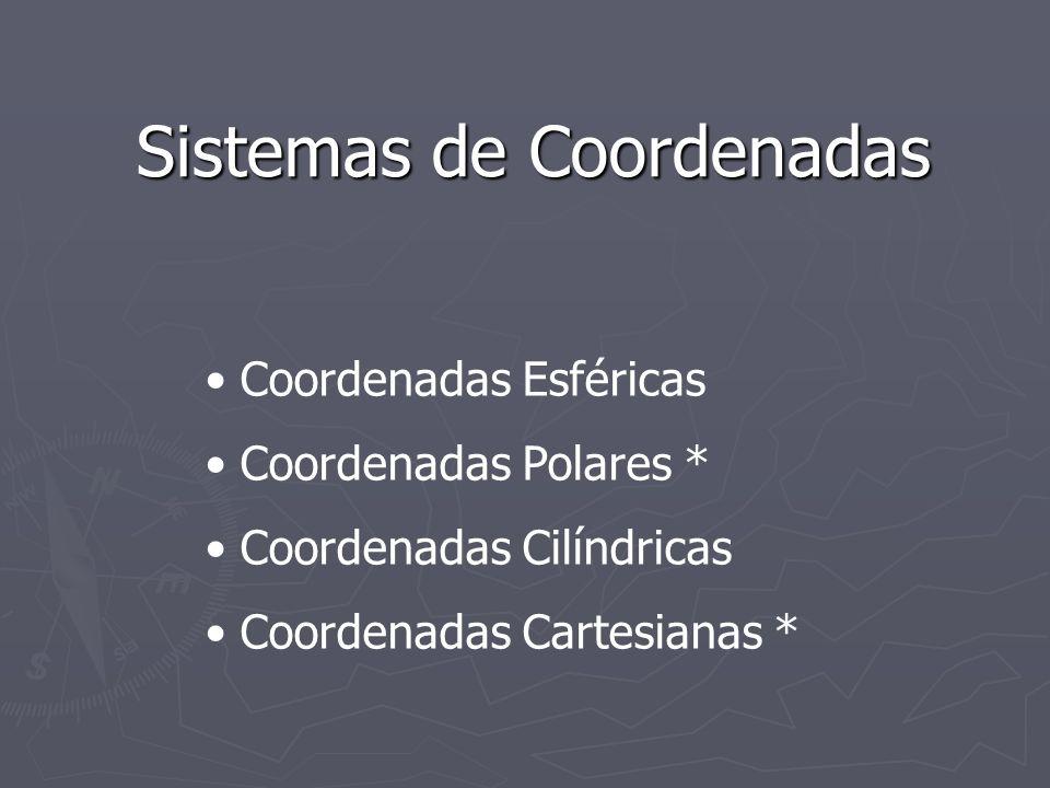 Sistemas de Coordenadas Coordenadas Esféricas Coordenadas Polares * Coordenadas Cilíndricas Coordenadas Cartesianas *