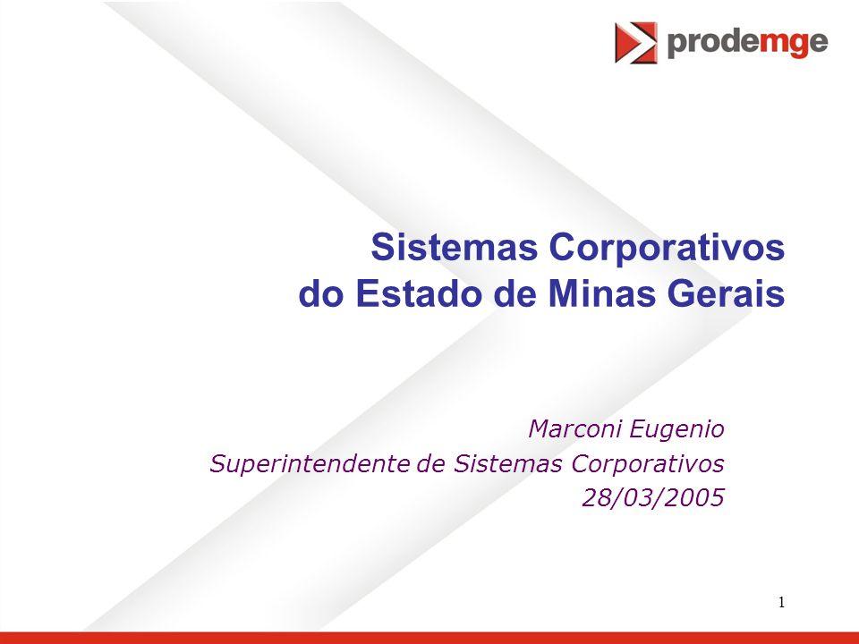 1 Sistemas Corporativos do Estado de Minas Gerais Marconi Eugenio Superintendente de Sistemas Corporativos 28/03/2005