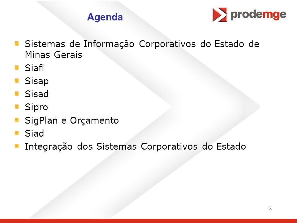 2 Agenda Sistemas de Informação Corporativos do Estado de Minas Gerais Siafi Sisap Sisad Sipro SigPlan e Orçamento Siad Integração dos Sistemas Corpor