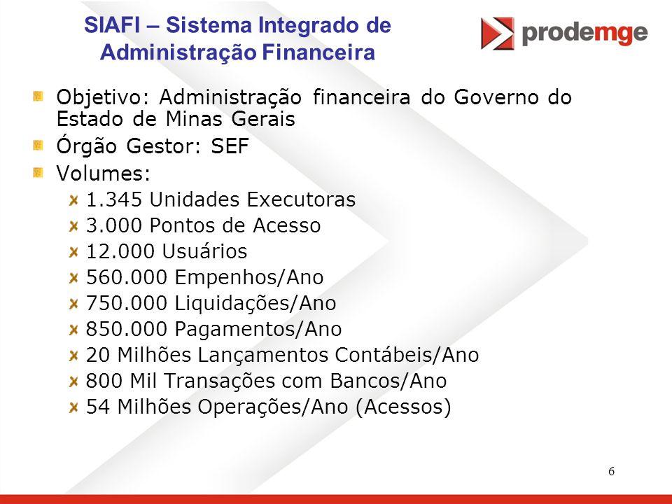 6 SIAFI – Sistema Integrado de Administração Financeira Objetivo: Administração financeira do Governo do Estado de Minas Gerais Órgão Gestor: SEF Volu