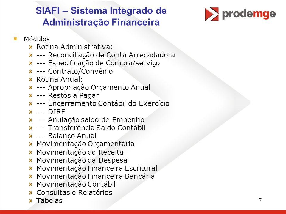 7 SIAFI – Sistema Integrado de Administração Financeira Módulos Rotina Administrativa: --- Reconciliação de Conta Arrecadadora --- Especificação de Co