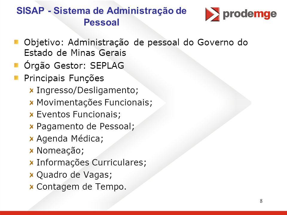 8 SISAP - Sistema de Administração de Pessoal Objetivo: Administração de pessoal do Governo do Estado de Minas Gerais Órgão Gestor: SEPLAG Principais