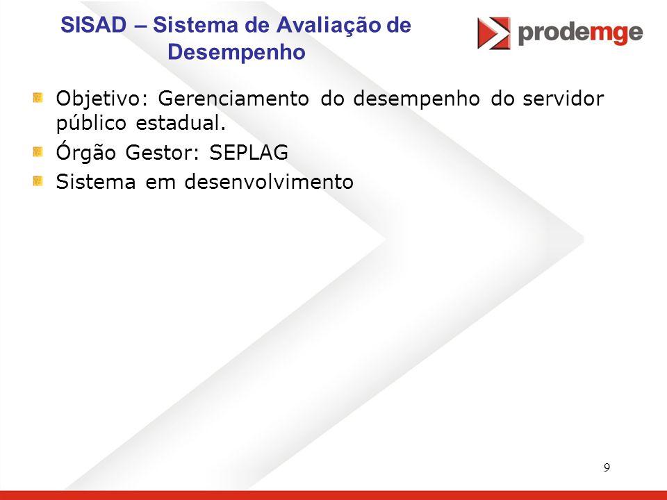 9 SISAD – Sistema de Avaliação de Desempenho Objetivo: Gerenciamento do desempenho do servidor público estadual. Órgão Gestor: SEPLAG Sistema em desen