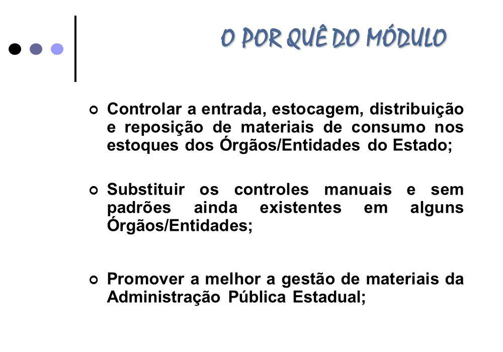O POR QUÊ DO MÓDULO Controlar a entrada, estocagem, distribuição e reposição de materiais de consumo nos estoques dos Órgãos/Entidades do Estado; Subs