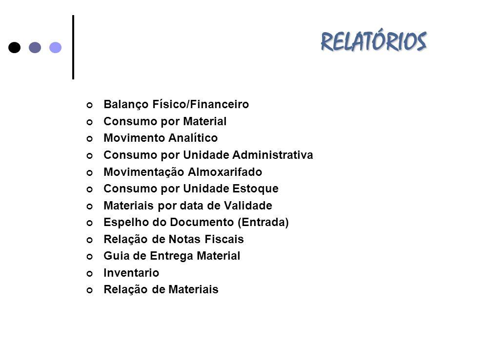 RELATÓRIOS Balanço Físico/Financeiro Consumo por Material Movimento Analítico Consumo por Unidade Administrativa Movimentação Almoxarifado Consumo por