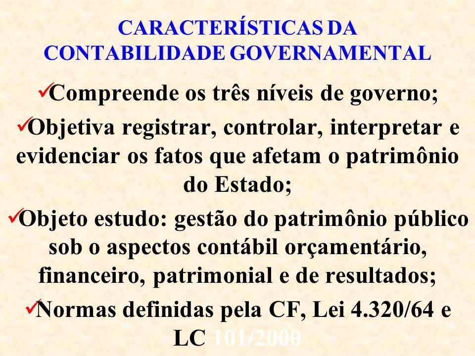 CARACTERÍSTICAS DA CONTABILIDADE GOVERNAMENTAL Compreende os três níveis de governo; Objetiva registrar, controlar, interpretar e evidenciar os fatos que afetam o patrimônio do Estado; Objeto estudo: gestão do patrimônio público sob o aspectos contábil orçamentário, financeiro, patrimonial e de resultados; Normas definidas pela CF, Lei 4.320/64 e LC 101/2000