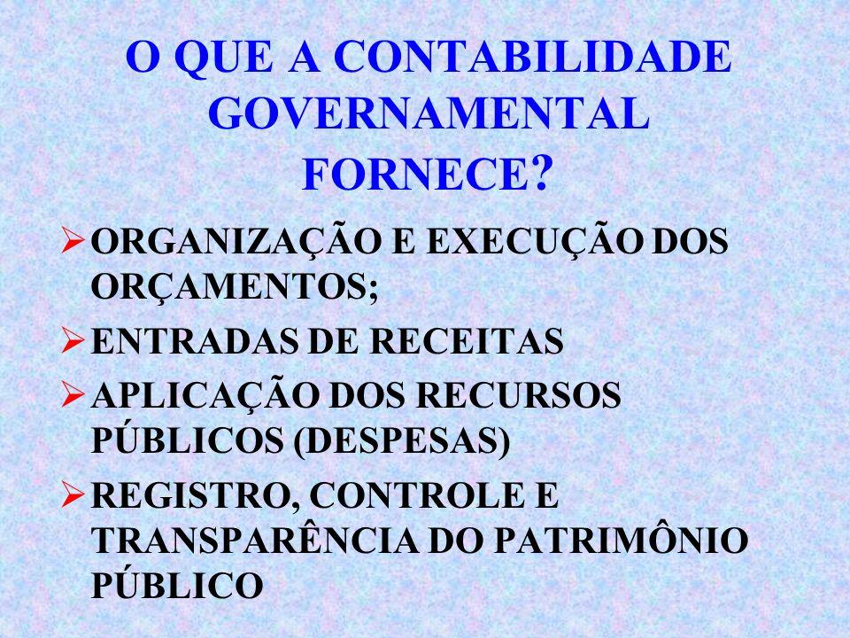 O QUE A CONTABILIDADE GOVERNAMENTAL FORNECE .