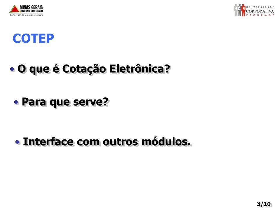 3/10 COTEP O que é Cotação Eletrônica? Para que serve? Interface com outros módulos.