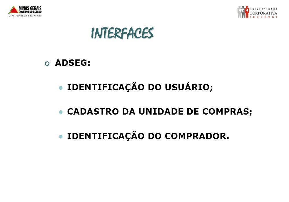 INTERFACES ADSEG: IDENTIFICAÇÃO DO USUÁRIO; CADASTRO DA UNIDADE DE COMPRAS; IDENTIFICAÇÃO DO COMPRADOR.
