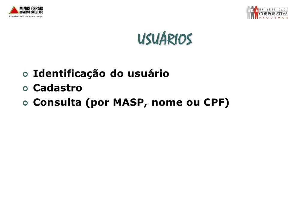 USUÁRIOS Identificação do usuário Cadastro Consulta (por MASP, nome ou CPF)