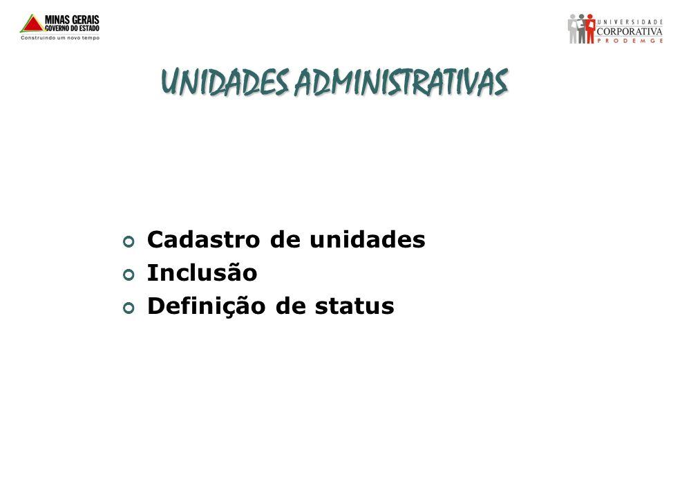 UNIDADES ADMINISTRATIVAS Cadastro de unidades Inclusão Definição de status