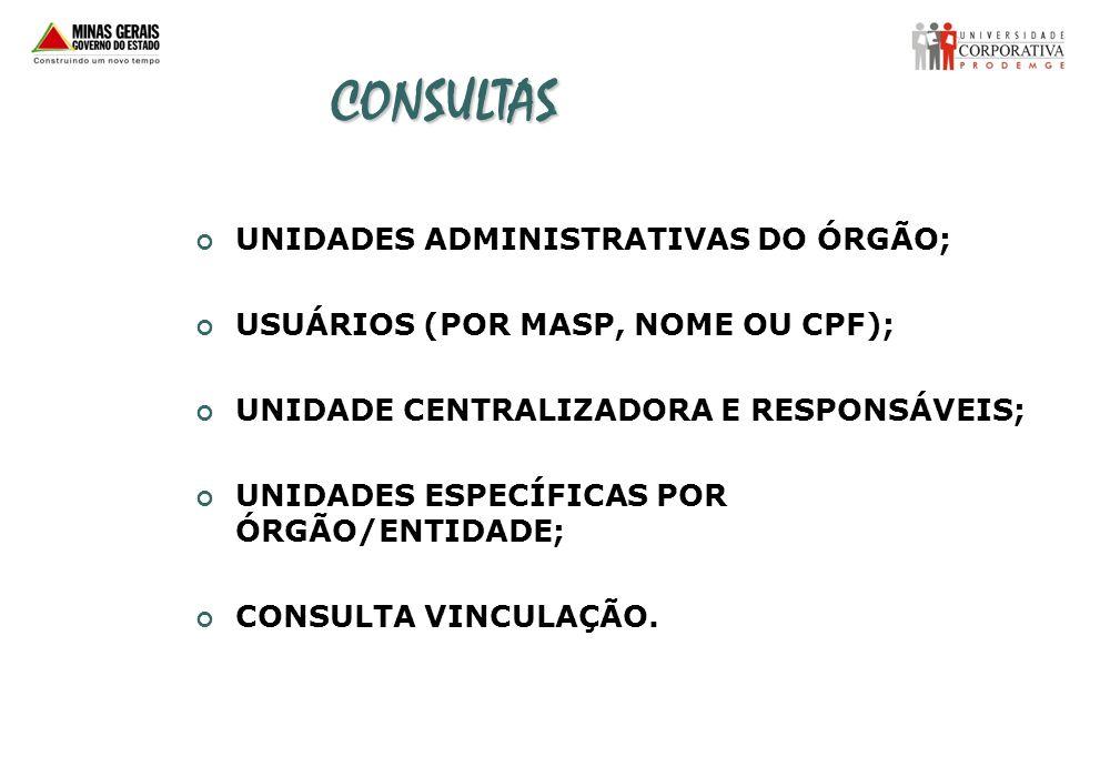CONSULTAS UNIDADES ADMINISTRATIVAS DO ÓRGÃO; USUÁRIOS (POR MASP, NOME OU CPF); UNIDADE CENTRALIZADORA E RESPONSÁVEIS; UNIDADES ESPECÍFICAS POR ÓRGÃO/E