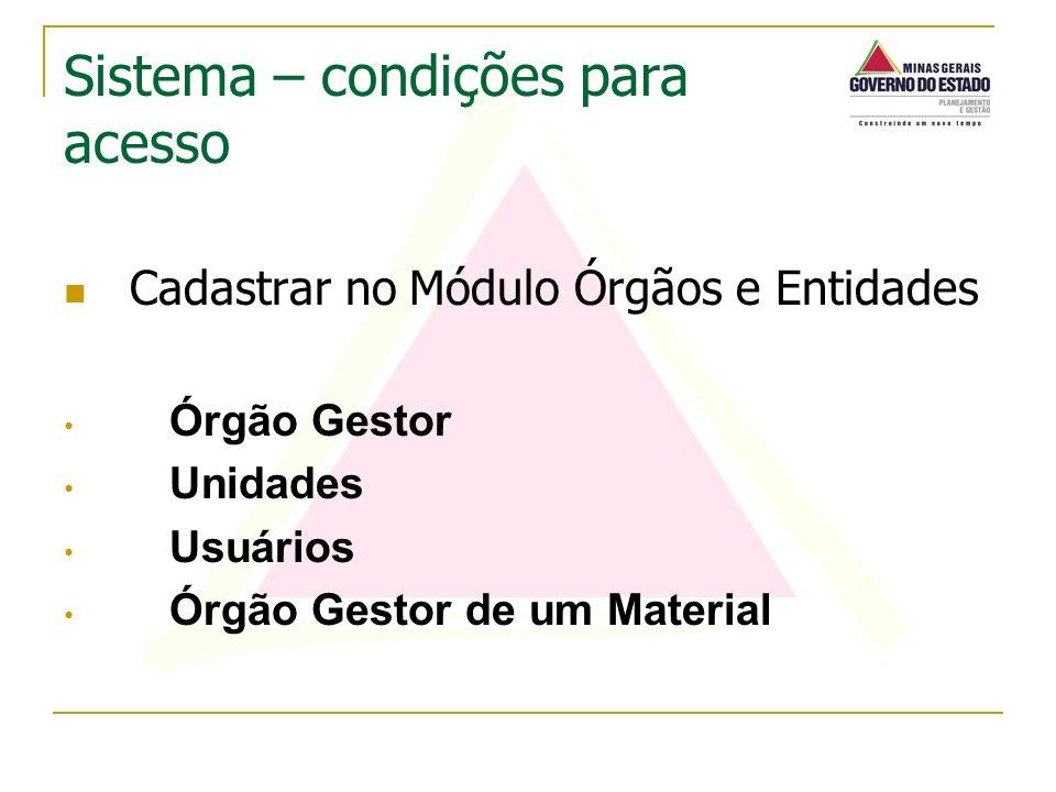 Cadastrar no Módulo Órgãos e Entidades Órgão Gestor Unidades Usuários Órgão Gestor de um Material Sistema – condições para acesso