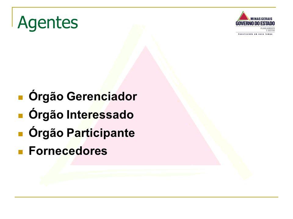 Órgão Gerenciador Órgão Interessado Órgão Participante Fornecedores Agentes