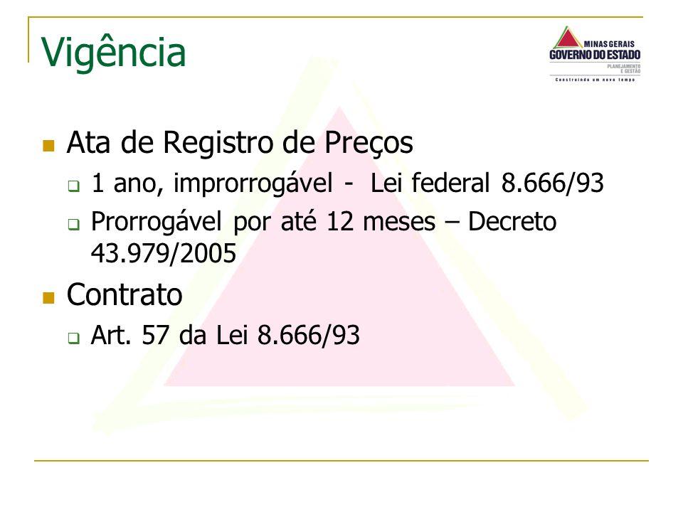 Ata de Registro de Preços 1 ano, improrrogável - Lei federal 8.666/93 Prorrogável por até 12 meses – Decreto 43.979/2005 Contrato Art. 57 da Lei 8.666