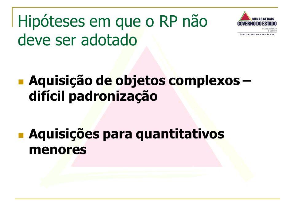 Aquisição de objetos complexos – difícil padronização Aquisições para quantitativos menores Hipóteses em que o RP não deve ser adotado