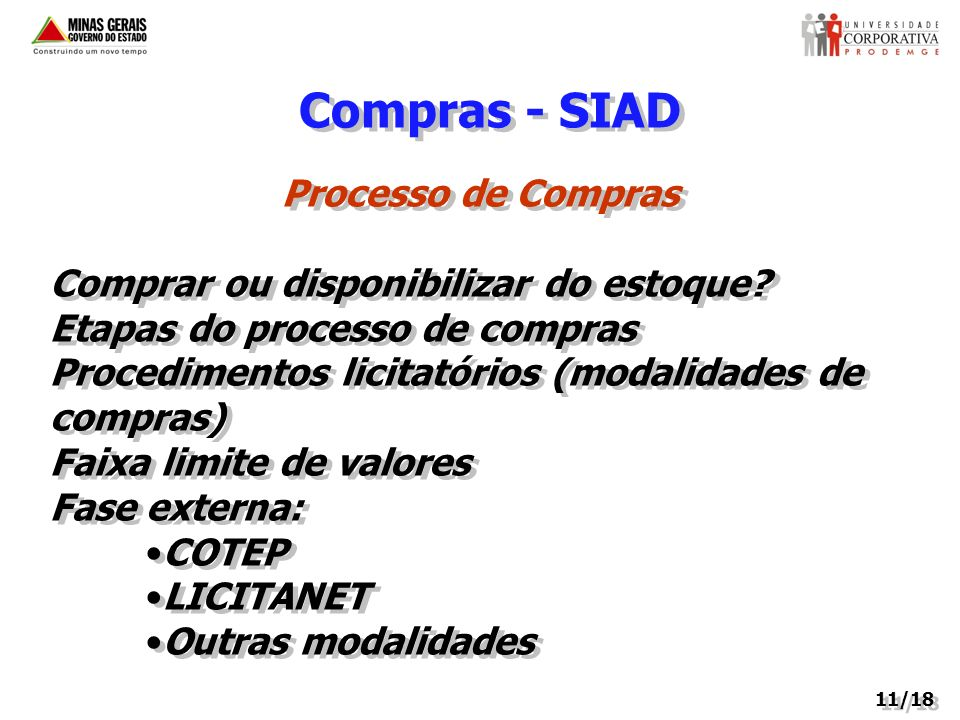 Compras - SIAD Processo de Compras Comprar ou disponibilizar do estoque? Etapas do processo de compras Procedimentos licitatórios (modalidades de comp
