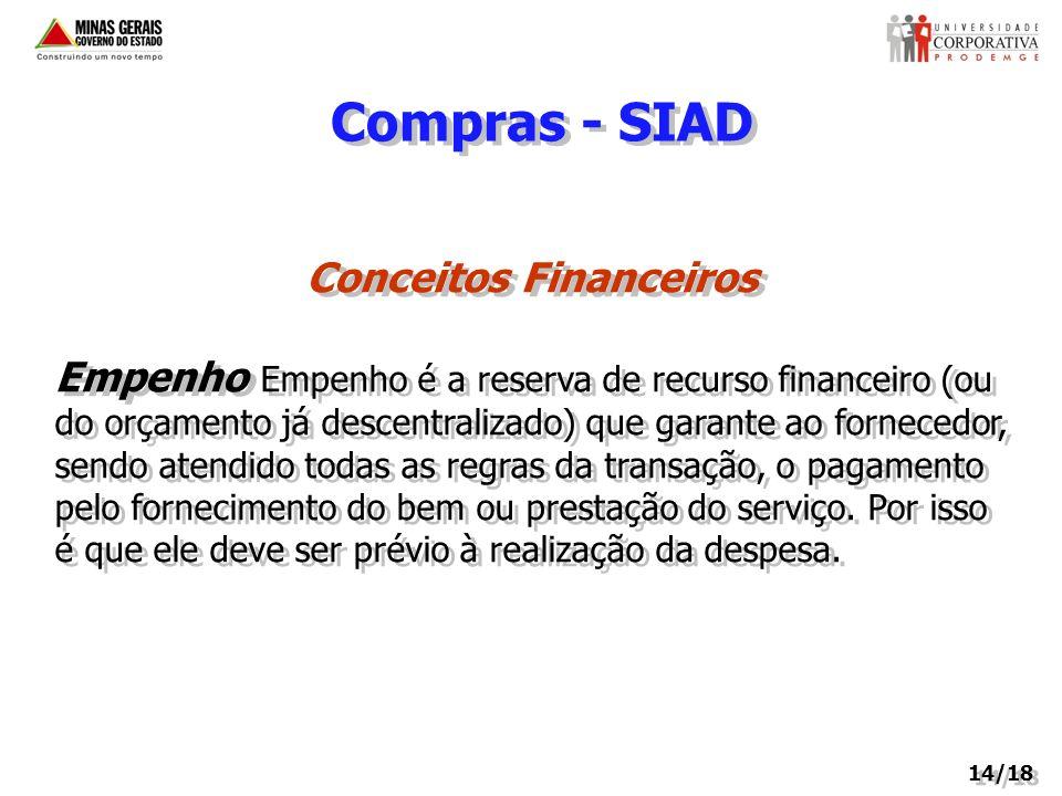 Compras - SIAD Conceitos Financeiros Empenho Empenho é a reserva de recurso financeiro (ou do orçamento já descentralizado) que garante ao fornecedor,