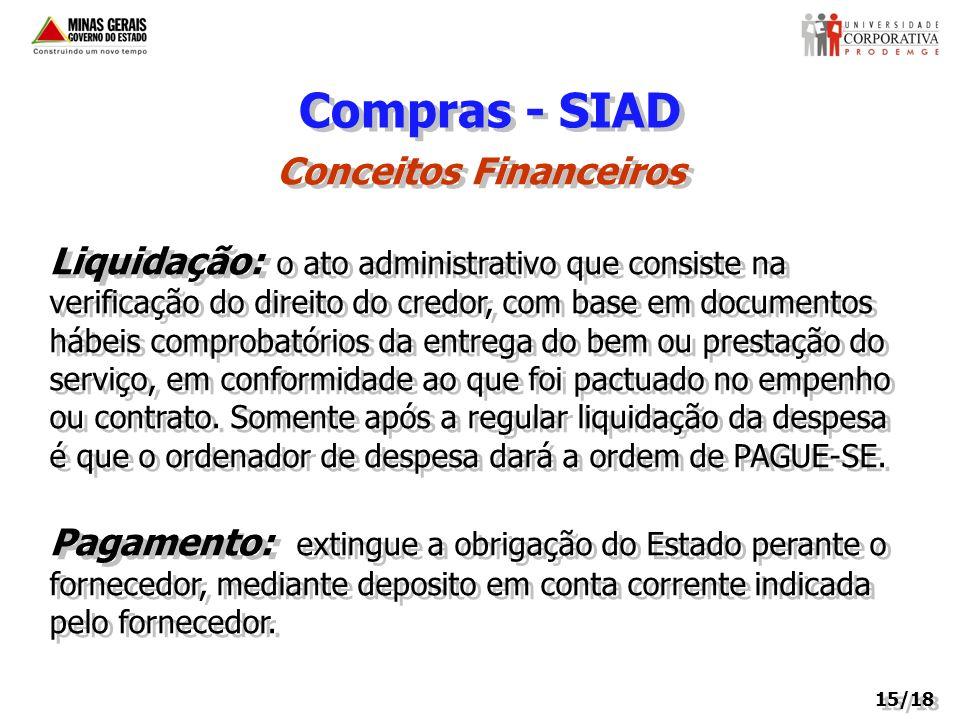 Compras - SIAD Conceitos Financeiros Liquidação: o ato administrativo que consiste na verificação do direito do credor, com base em documentos hábeis