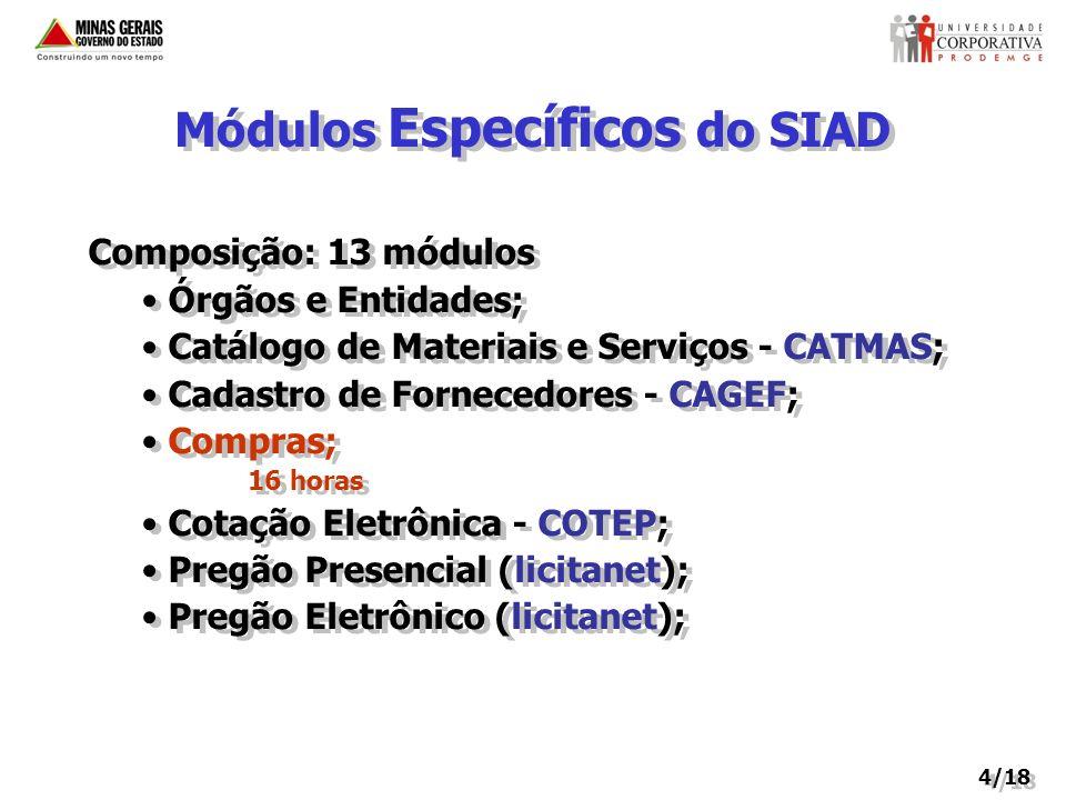 Módulos Específicos do SIAD Composição: 13 módulos Órgãos e Entidades; Catálogo de Materiais e Serviços - CATMAS; Cadastro de Fornecedores - CAGEF; Co