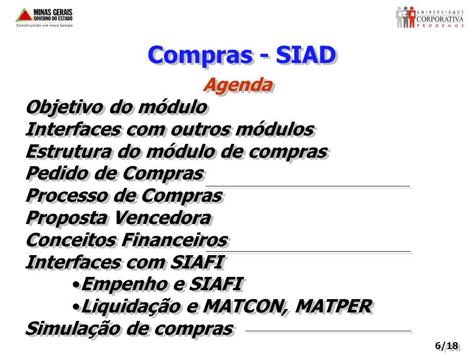 Compras - SIAD Agenda Objetivo do módulo Interfaces com outros módulos Estrutura do módulo de compras Pedido de Compras Processo de Compras Proposta V