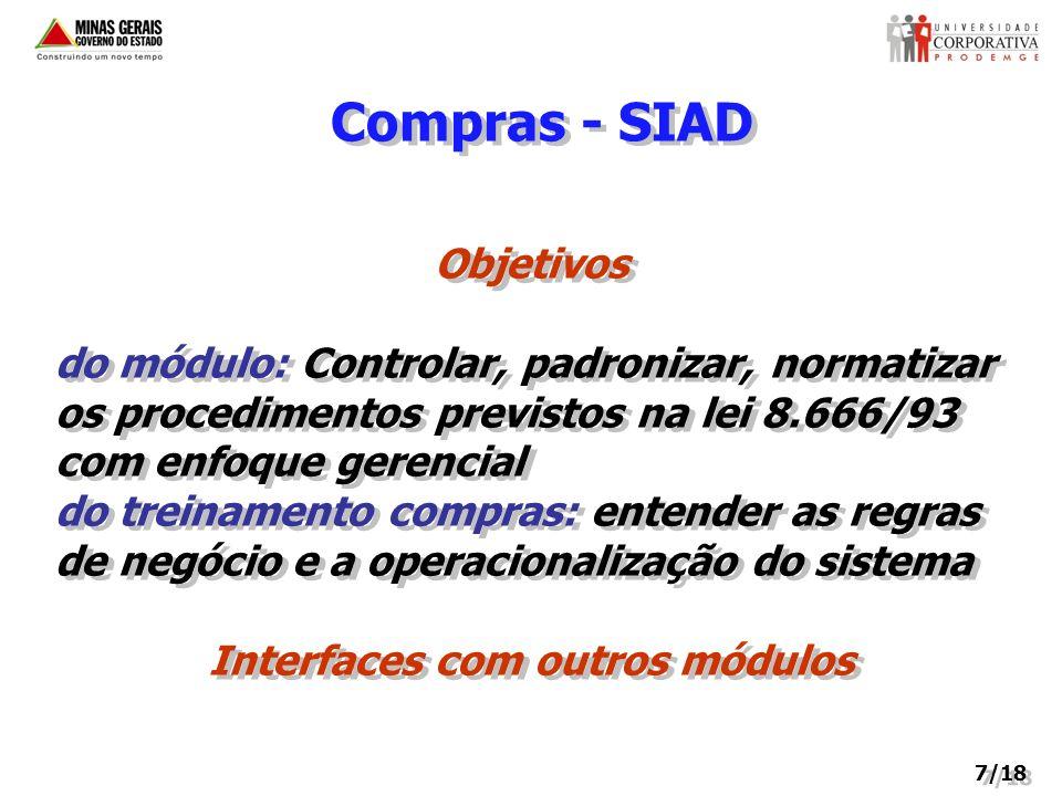 Compras - SIAD Objetivos do módulo: Controlar, padronizar, normatizar os procedimentos previstos na lei 8.666/93 com enfoque gerencial do treinamento