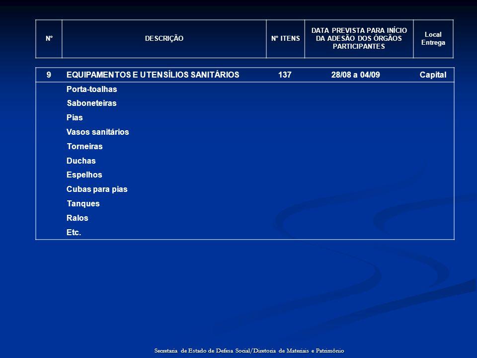 N°DESCRIÇÃON° ITENS DATA PREVISTA PARA INÍCIO DA ADESÃO DOS ÓRGÃOS PARTICIPANTES Local Entrega 9EQUIPAMENTOS E UTENSÍLIOS SANITÁRIOS13728/08 a 04/09Ca