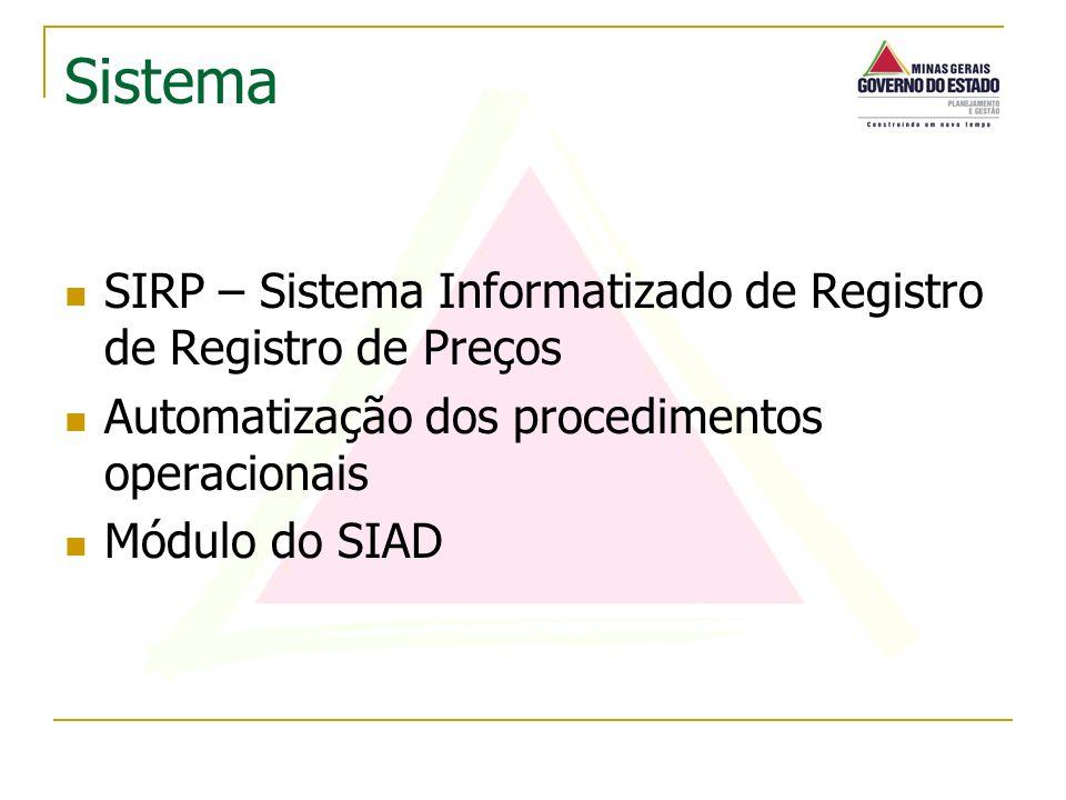 SIRP – Sistema Informatizado de Registro de Registro de Preços Automatização dos procedimentos operacionais Módulo do SIAD Sistema