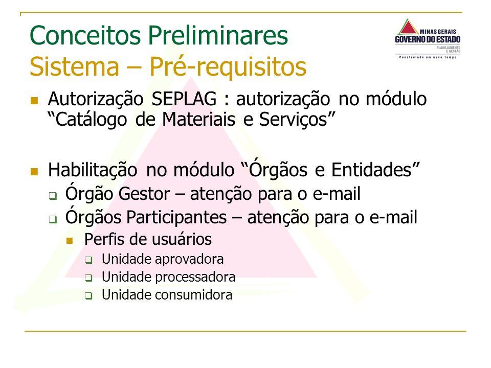 Autorização SEPLAG : autorização no módulo Catálogo de Materiais e Serviços Habilitação no módulo Órgãos e Entidades Órgão Gestor – atenção para o e-m