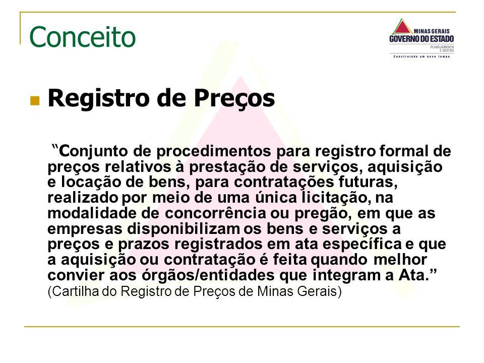 Registro de Preços C onjunto de procedimentos para registro formal de preços relativos à prestação de serviços, aquisição e locação de bens, para cont