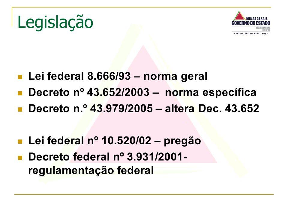 Lei federal 8.666/93 – norma geral Decreto nº 43.652/2003 – norma específica Decreto n.º 43.979/2005 – altera Dec. 43.652 Lei federal nº 10.520/02 – p