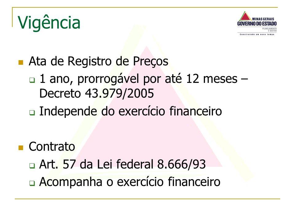 Ata de Registro de Preços 1 ano, prorrogável por até 12 meses – Decreto 43.979/2005 Independe do exercício financeiro Contrato Art. 57 da Lei federal