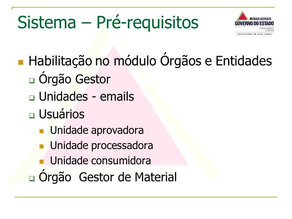 Habilitação no módulo Órgãos e Entidades Órgão Gestor Unidades - emails Usuários Unidade aprovadora Unidade processadora Unidade consumidora Órgão Ges