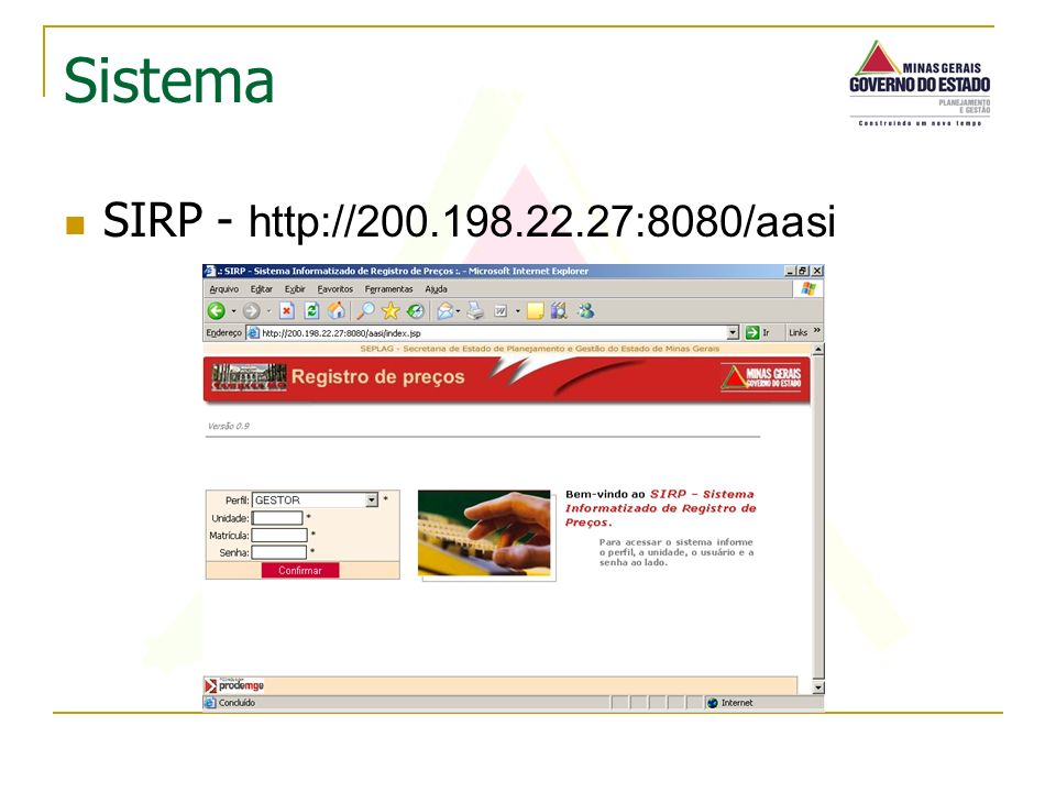 SIRP - http://200.198.22.27:8080/aasi Sistema