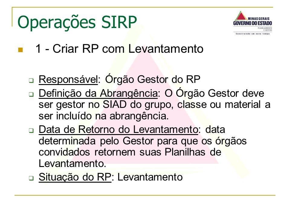 1 - Criar RP com Levantamento Responsável: Órgão Gestor do RP Definição da Abrangência: O Órgão Gestor deve ser gestor no SIAD do grupo, classe ou mat