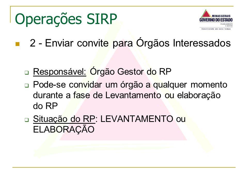 2 - Enviar convite para Órgãos Interessados Responsável: Órgão Gestor do RP Pode-se convidar um órgão a qualquer momento durante a fase de Levantament