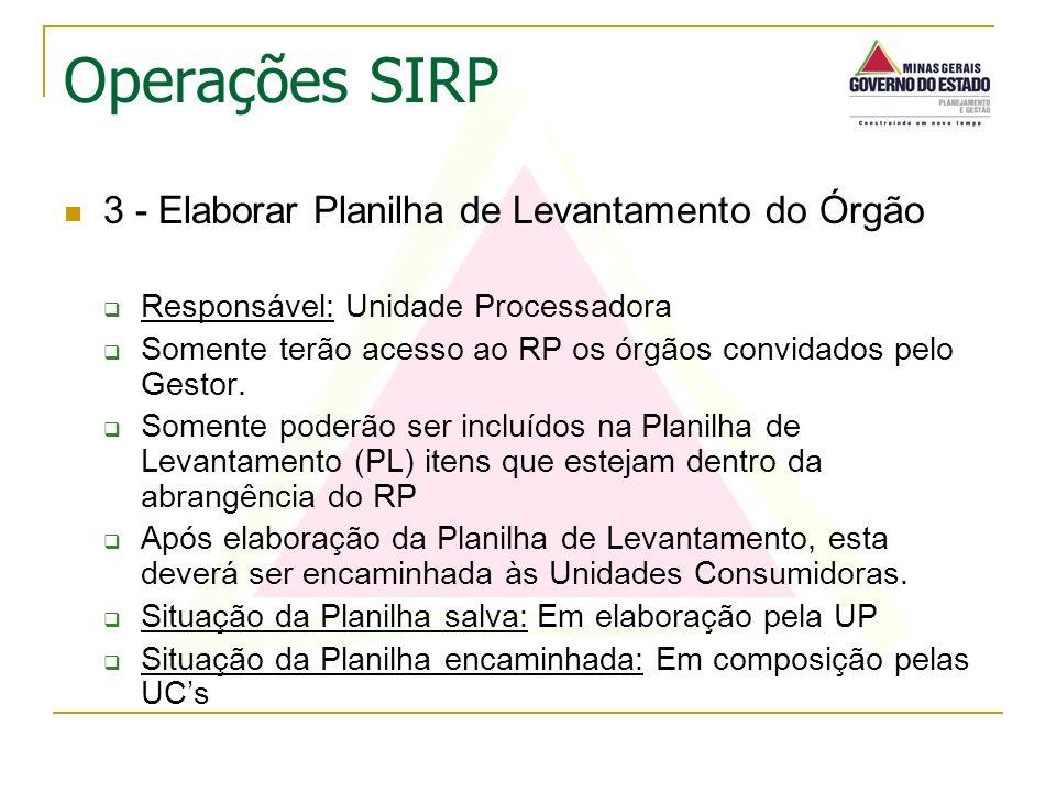 3 - Elaborar Planilha de Levantamento do Órgão Responsável: Unidade Processadora Somente terão acesso ao RP os órgãos convidados pelo Gestor. Somente