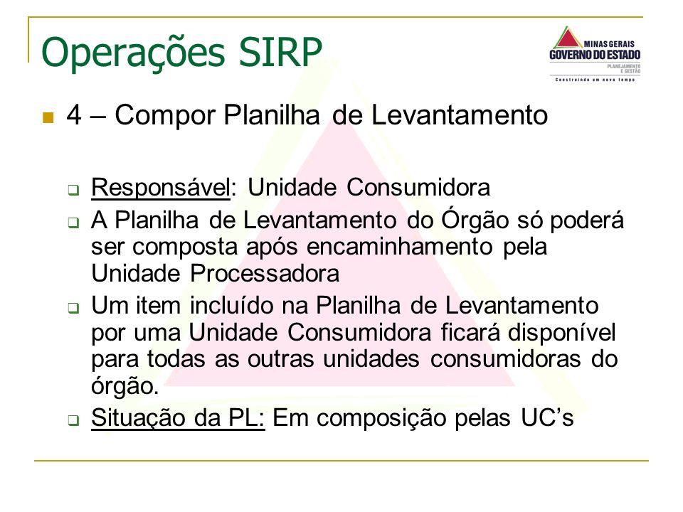 4 – Compor Planilha de Levantamento Responsável: Unidade Consumidora A Planilha de Levantamento do Órgão só poderá ser composta após encaminhamento pe