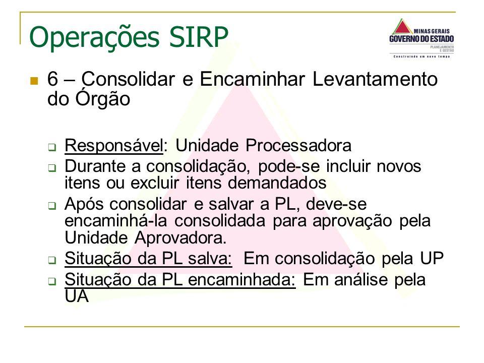 6 – Consolidar e Encaminhar Levantamento do Órgão Responsável: Unidade Processadora Durante a consolidação, pode-se incluir novos itens ou excluir ite