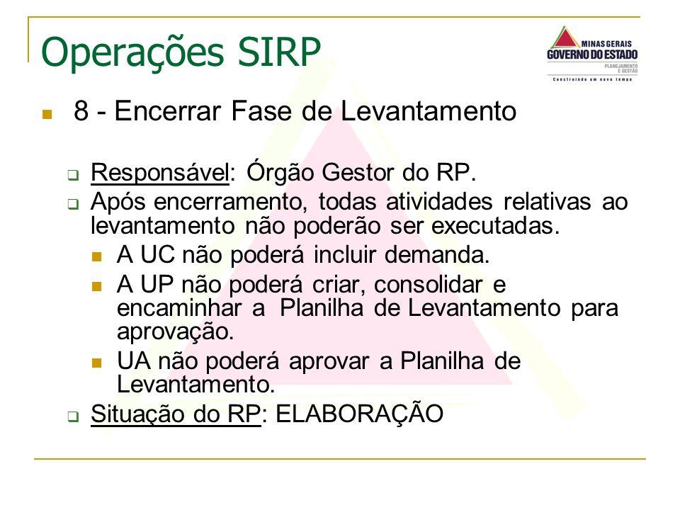 8 - Encerrar Fase de Levantamento Responsável: Órgão Gestor do RP. Após encerramento, todas atividades relativas ao levantamento não poderão ser execu
